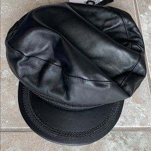 Leather Zara newsboy cap